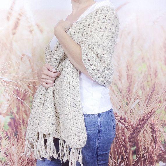Chal de Womens Crochet envoltura con flecos Crochet | Crochet ...