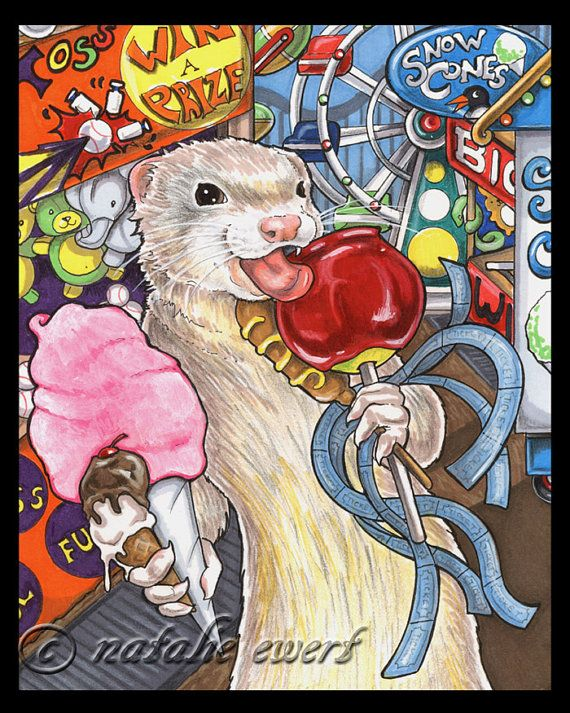 Ferret At The Fair Art Print-You Choose-2.5x3.5, 5x7 or 8x10 In. Anthro Animal Pet Carnival Circus Champagne Dark White Eyed Coney Island