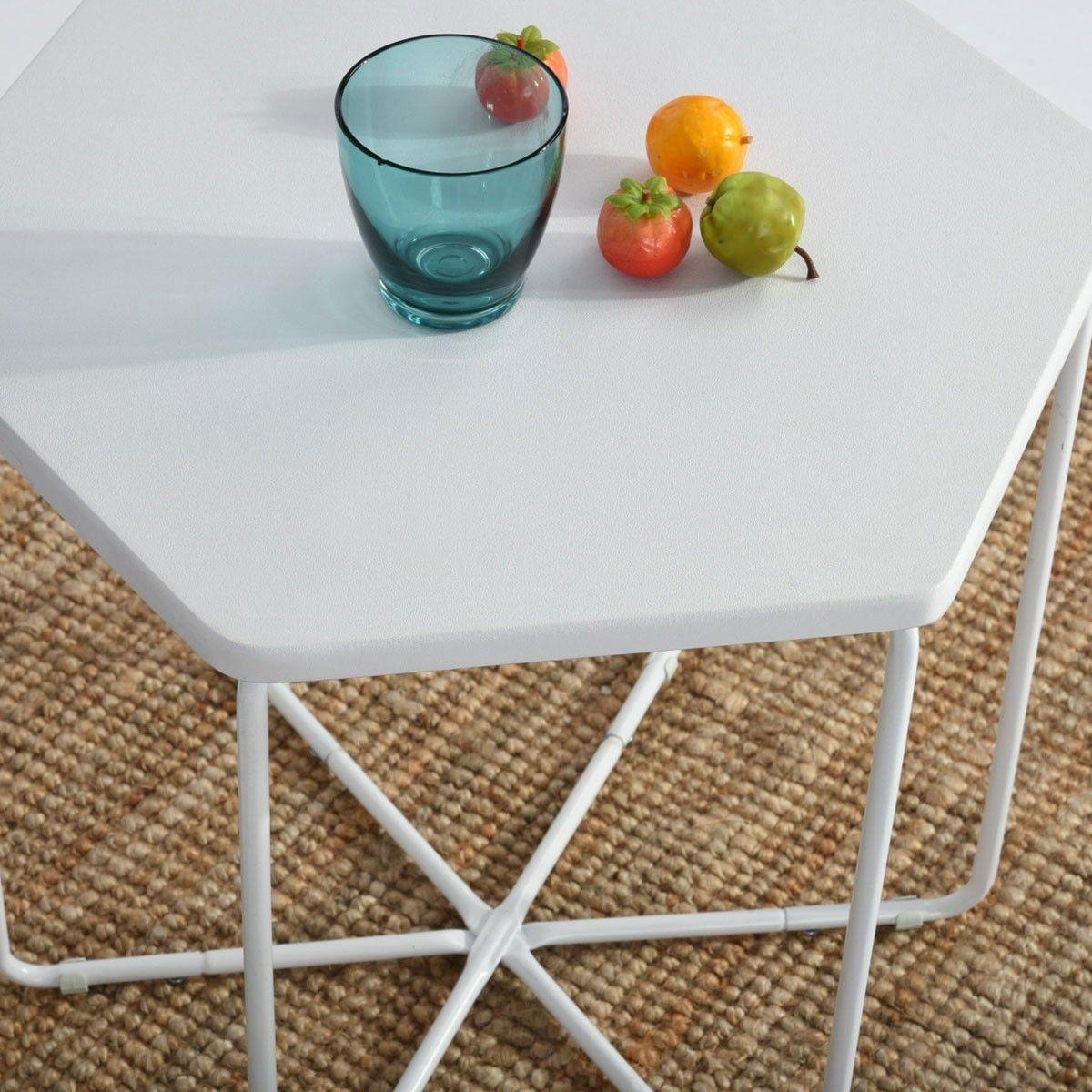 Table polygoneTable blanche basse métal en basse forme qzSVUMp