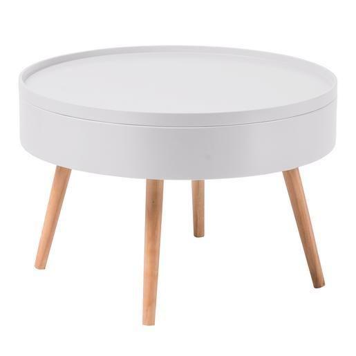 Table Basse Scandinave Avec Rangement Mdf Et Pin O 60 X H 42 Cm Blanc Table Basse Table Basse Blanc Table Basse Scandinave