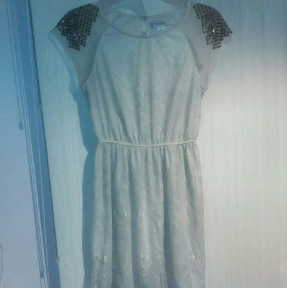 Cream Lace Dress Cream Colored Lace, Gold Studs, Few Studs Missing, Falls Above Knees, In Good Condition, Worn A Few Times, willing to negotiate price Pinky Dresses