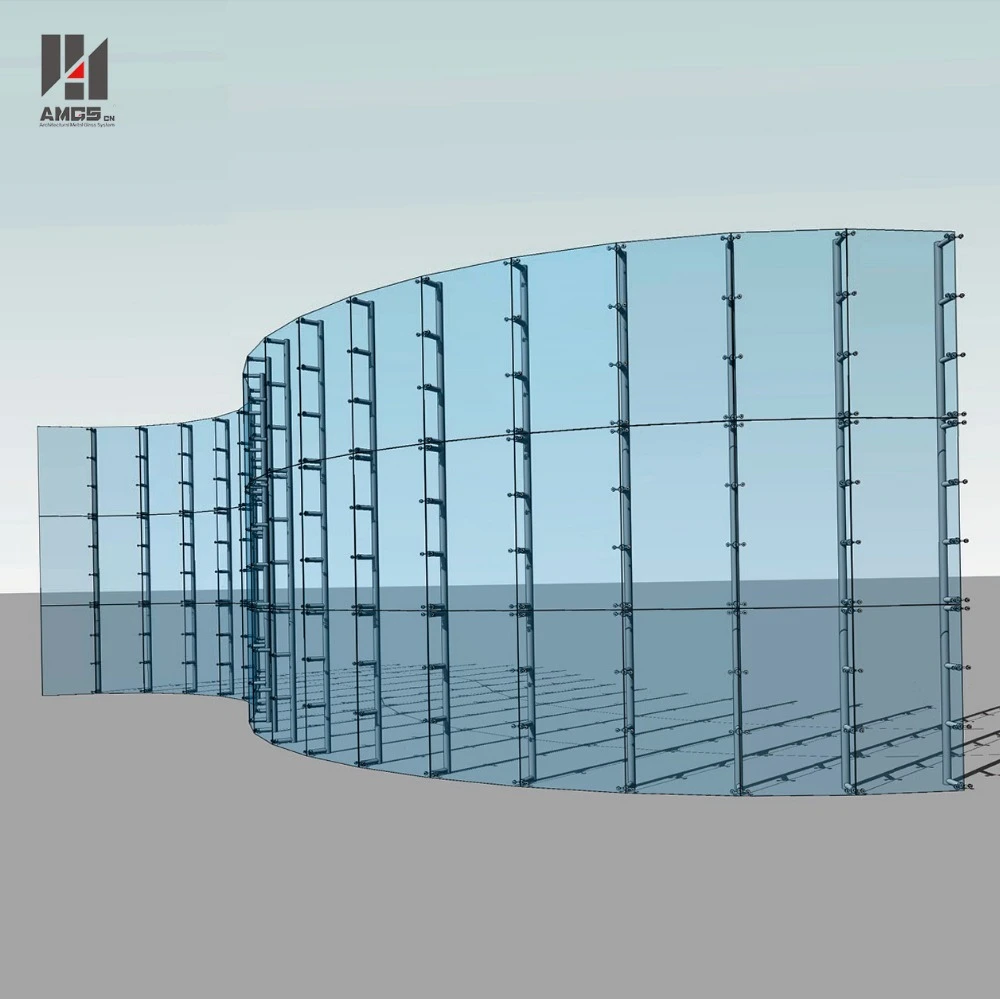 Exterior Facade Low Cost Per Square Metre Glass Curtain Wall Spider System Glass Curtain Wall Glass Curtain Glass Facades