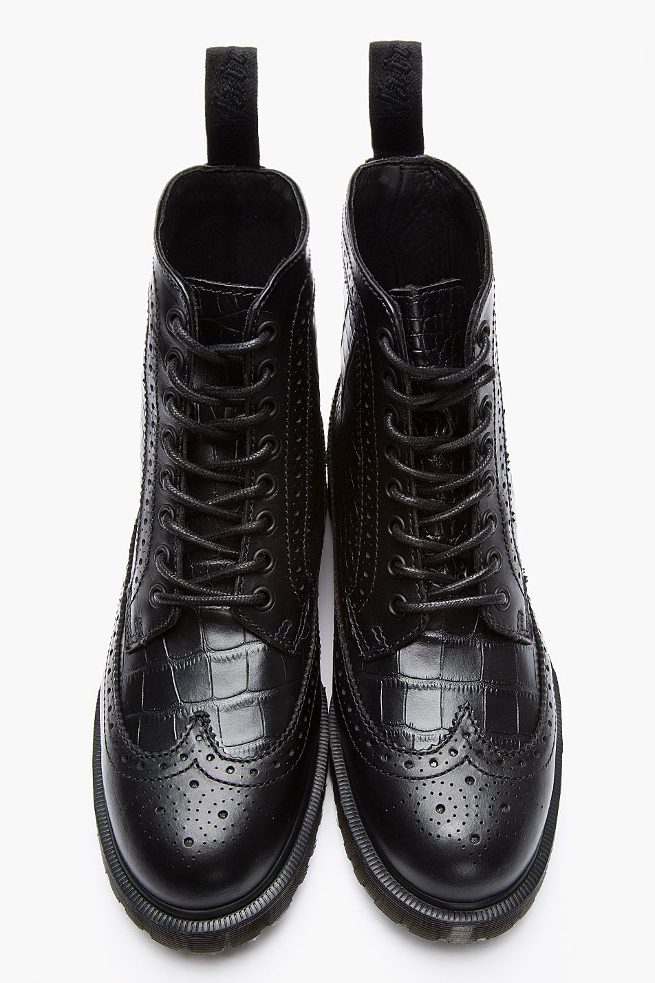 08a06ee44592b DR. MARTENS Black Leather Croc-embossed Marcus 8-Eye Brogue Boots ...