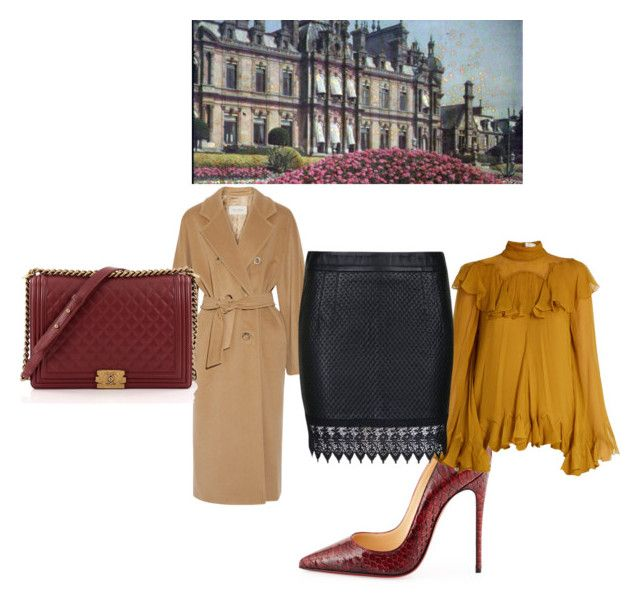 """""""Conference"""" by blankakvas ❤ liked on Polyvore featuring MaxMara, Christian Louboutin, Chloé, Patrizia Pepe and Chanel"""