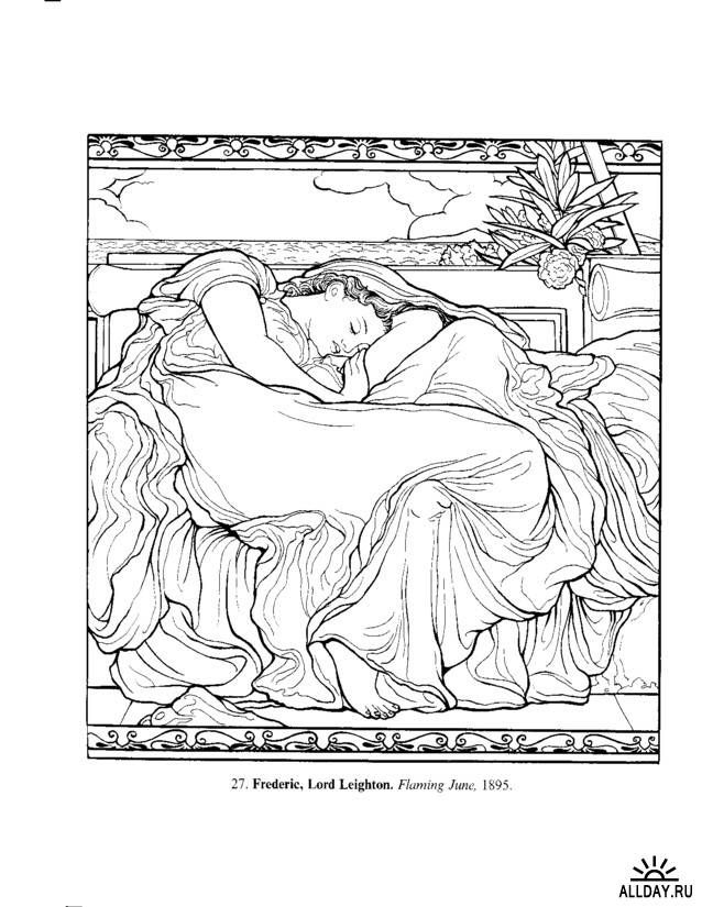 1309543644 Pages From Art Masterpieces To Color 60 Great Paintings Botticelli Picasso Dover Colouring Books 6 638x825