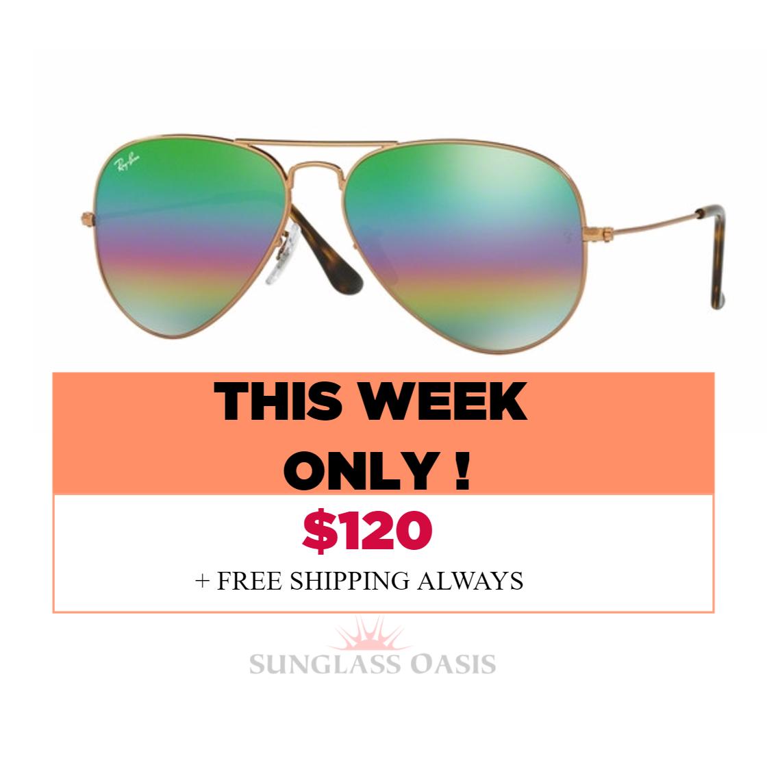 ... ray ban aviator sunglasses metallic medium bronze with rainbow 2 mirrored  lenses rb 3025 9018c3