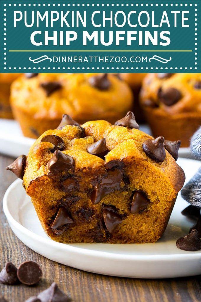 Pumpkin Chocolate Chip Muffins Recipe | Pumpkin Muffins | Chocolate Pumpkin Muffins #muffins #pumpkin #fall #chocolate #dessert #snack #dinneratthezoo #pumpkinmuffins