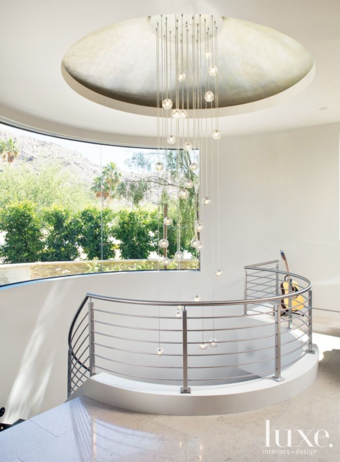 modern white staircase with hanging light fixture luxe halls rh pinterest de