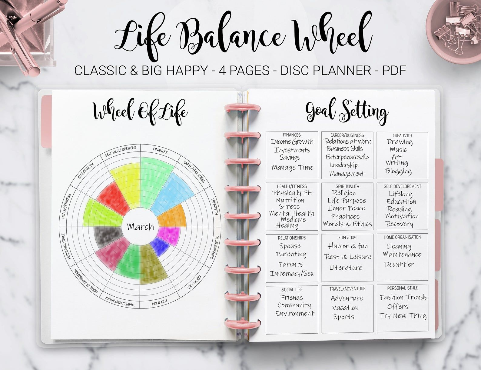Wheel Of Life Balance Goal Setting Planner Life Management Self Improvement Mambi Classic Hp Big Happy Planner Pdf Printable Inserts Wheel Of Life Life Balance Wheel Planner Erin Condren