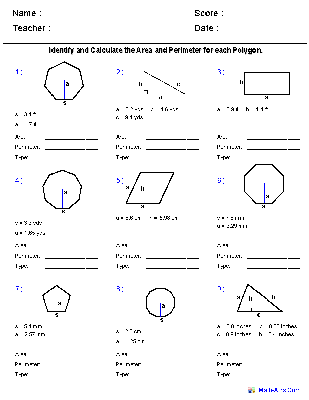 Geometry Worksheets Geometry Worksheets For Practice And Study Geometry Worksheets Area And Perimeter Regular Polygon