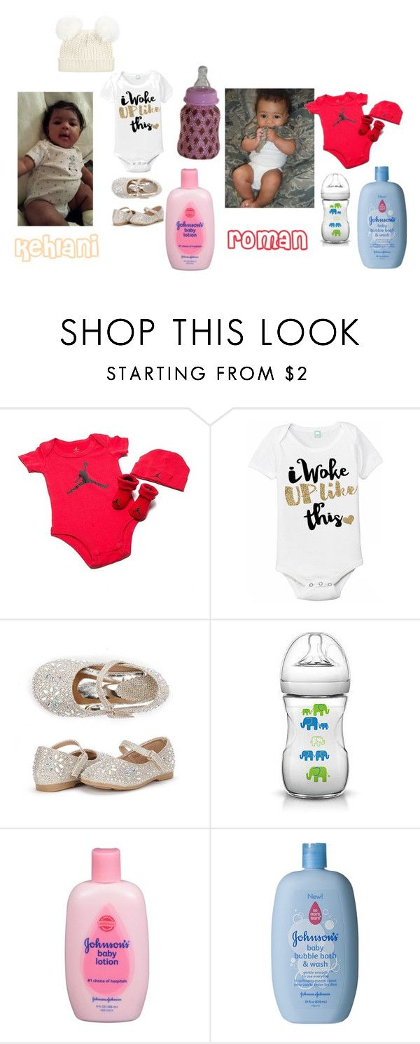 """my babies"" by kanisha-maryland ❤ liked on Polyvore featuring Jordan Brand and Johnson's Baby"