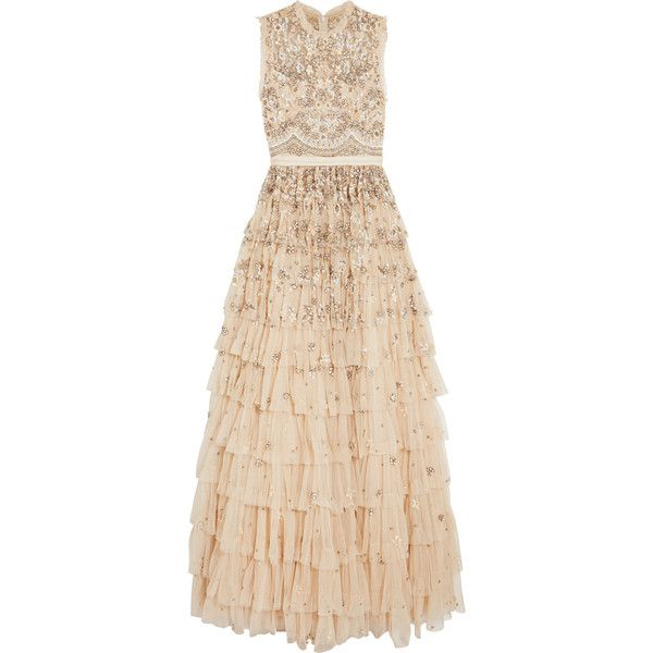 Needle & Thread Pearlescent tiered embellished tulle gown ($1,710 ...