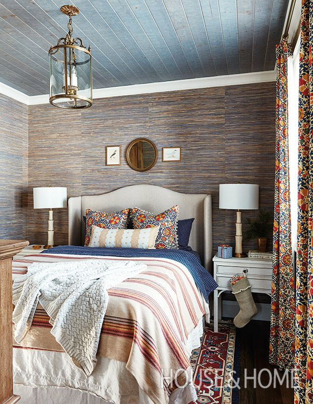 This guest bedroom is dressed up with
