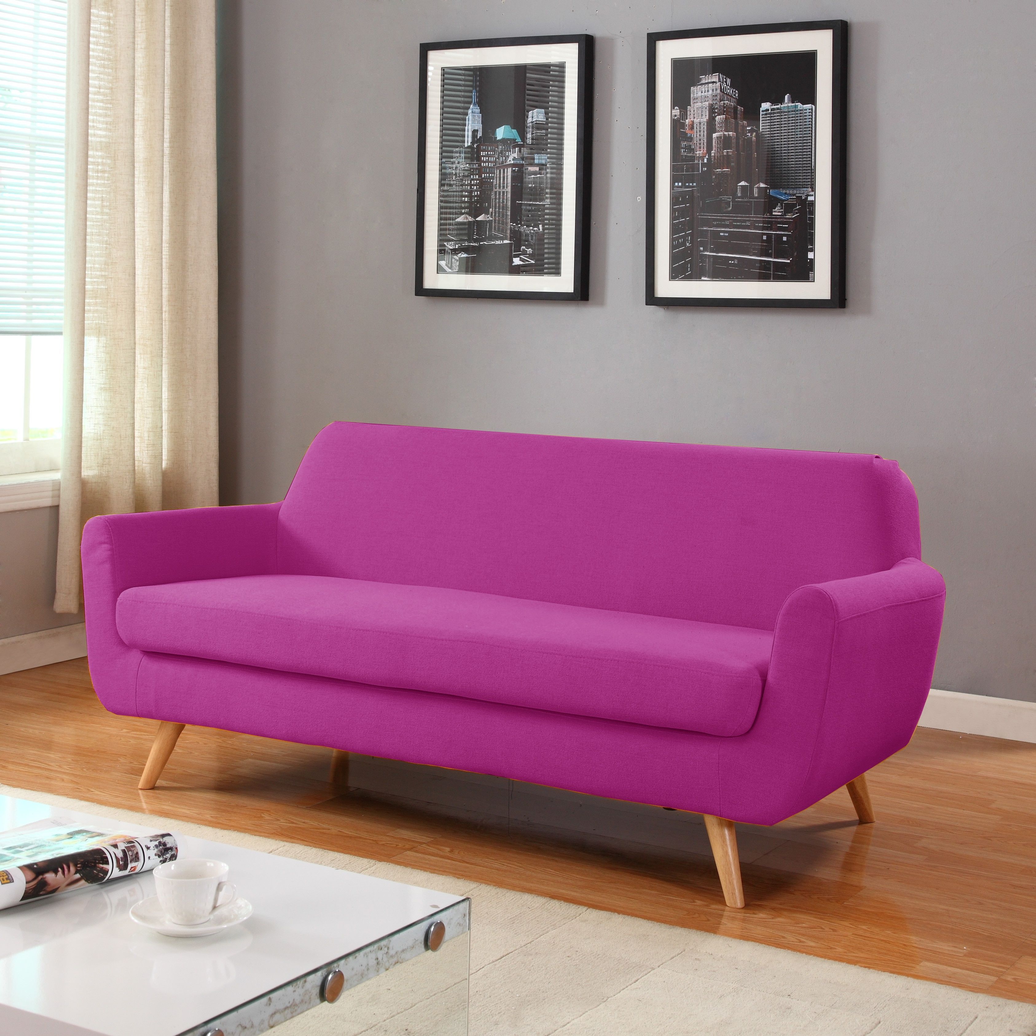 madison mid century modern linen fabric sofa living room furniture rh pinterest co uk