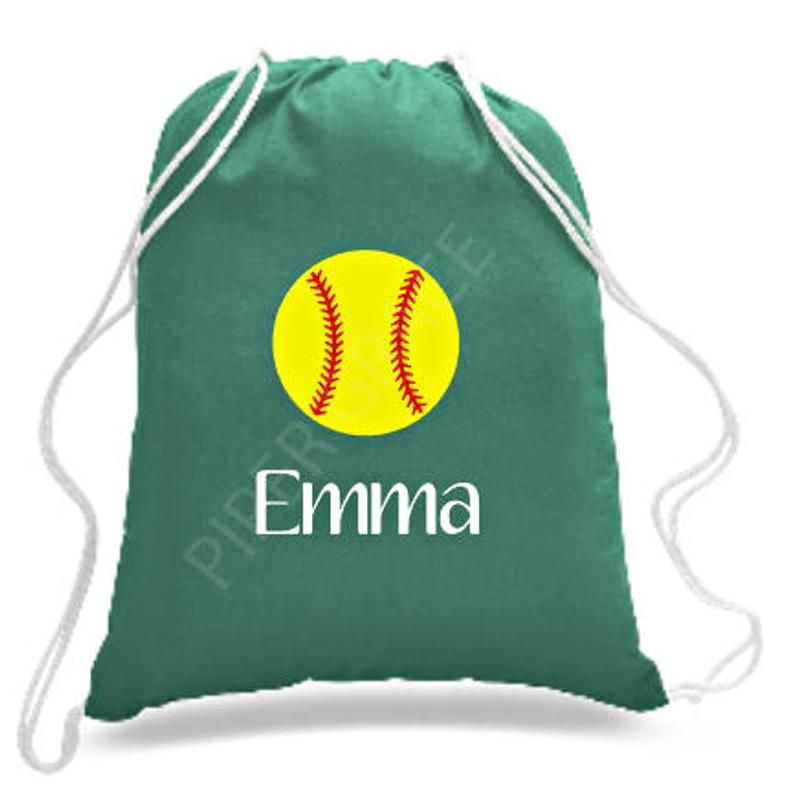 14x18 Lightweight Drawstring Cinch Bag With Softball And Name In Heat Transfer Vinyl Color Of Yo Softball Gifts Personalized Softball Gifts Softball Team Gifts