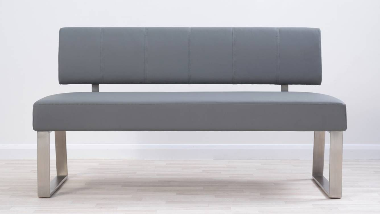 Dover 3 Seater Light Grey Faux Leather Bench With Backrest Dining Bench Seat Modern Dining Bench Yellow Bedding