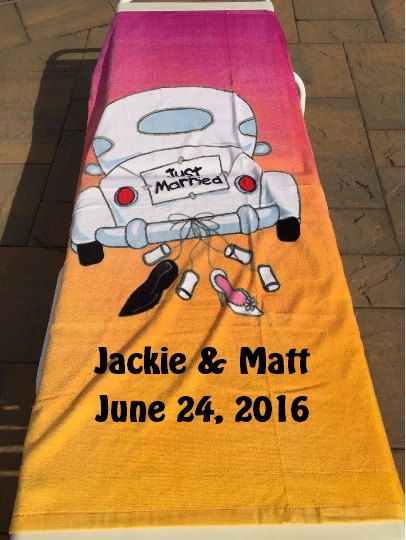 JUST MARRIED Wedding Beach Towel Personalized by