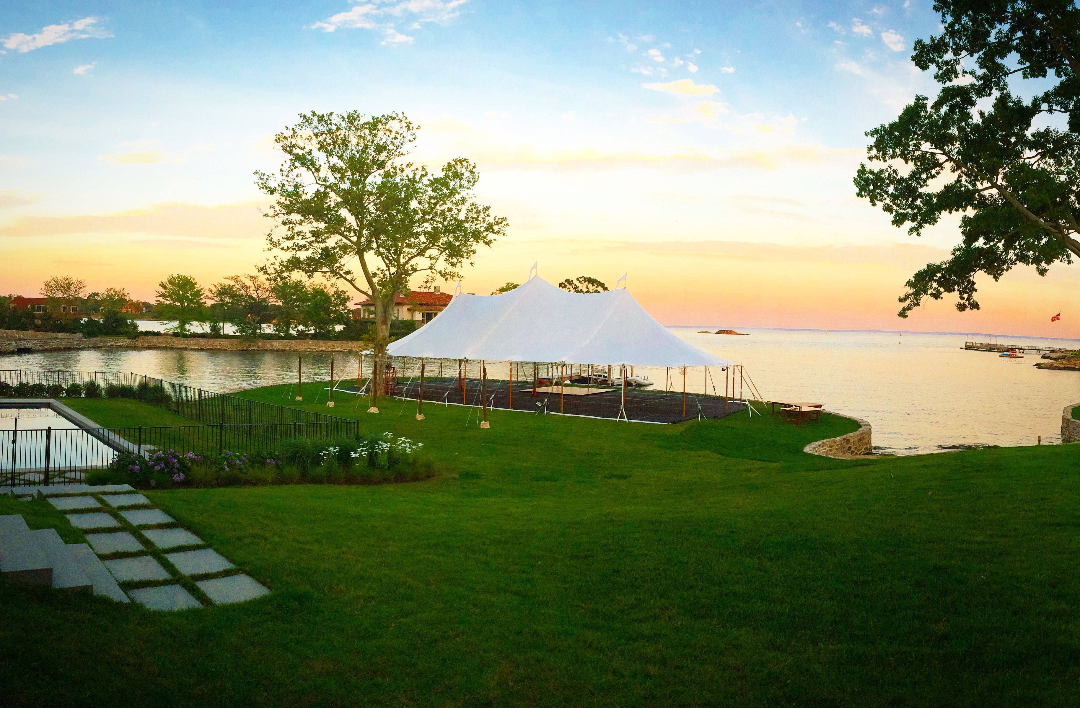 44 x 84 tidewater sailcloth tent at dusk held for a