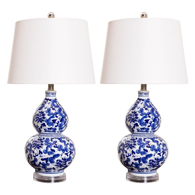 Charlton Home Rippeon 27 Table Lamp Set Wayfair Blue And White Lamp Blue And White Living Room Blue White Decor