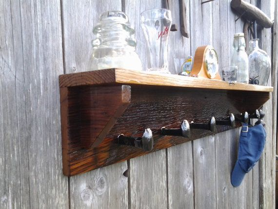 barn wood and rail road spike coat rack by bluemountwoodcrafts rh pinterest com