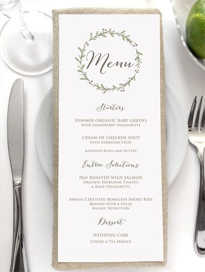 Wedding Menu Card  Rustic Wedding Menus  Dinner Menu  Brunch Menu