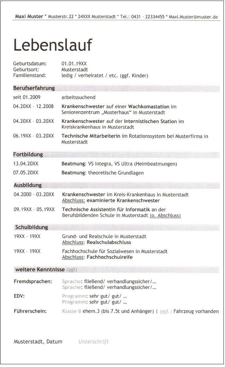 6. Lebenslauf_Balken_Krankenschwester_Trebuchet ID 447 Seite 1/1 ...