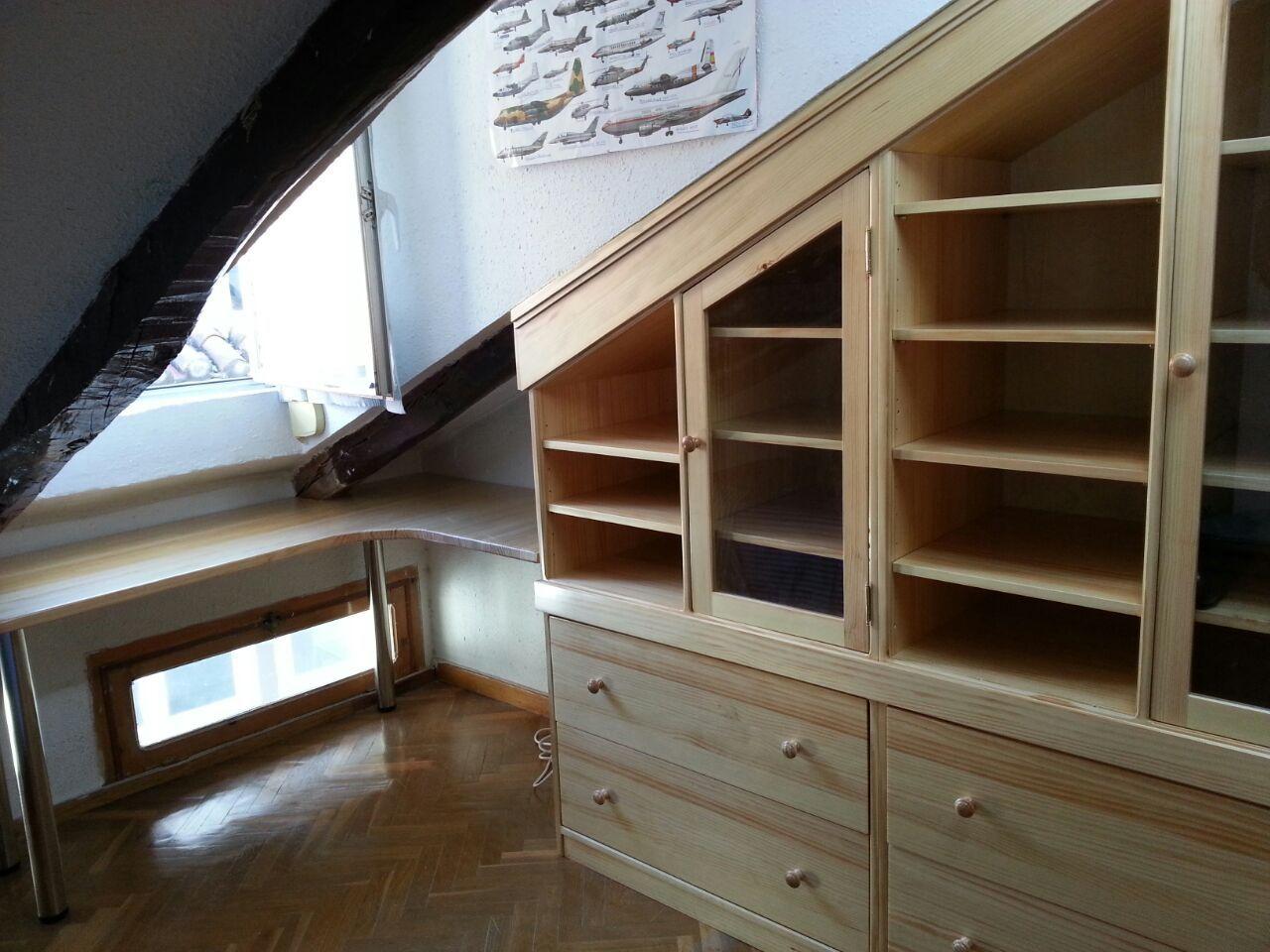 Mueble De Estudio Y Mesa En Tico Dise Ocarpinteria  # Muebles Para Buardillas