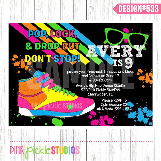 HIP HOP DANCE Party Invitation or Thank You Card Personalized Birthday Party Printables (533). $10.00, via Etsy.