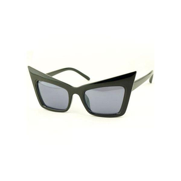 Cat's Eye Box Frame Black Sunglasses ❤ liked on Polyvore