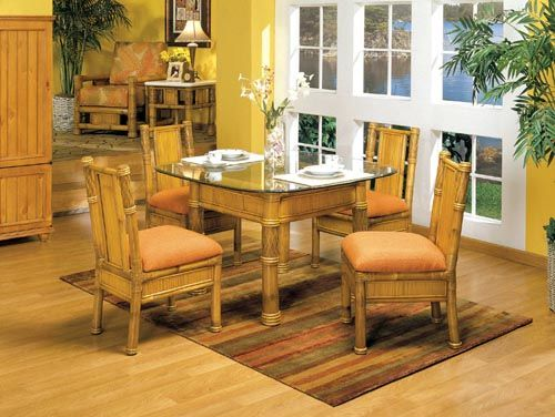 bamboo dining room furniture | Bamboo Dining Set, All Natural Bamboo from Rattan ...