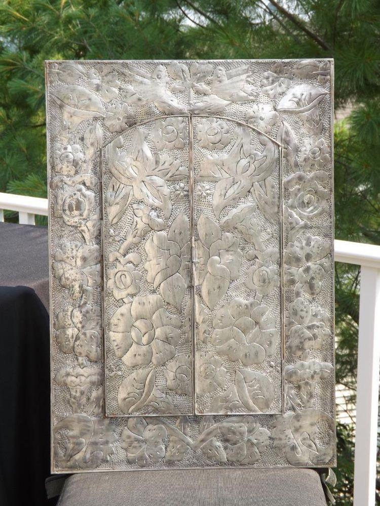 Hammered Hand Punched Floral Tin Mirror Folding Arch Doors Mexico Folk Art 18x26 Tin Mirrors Folk Art Mexican Folk Art