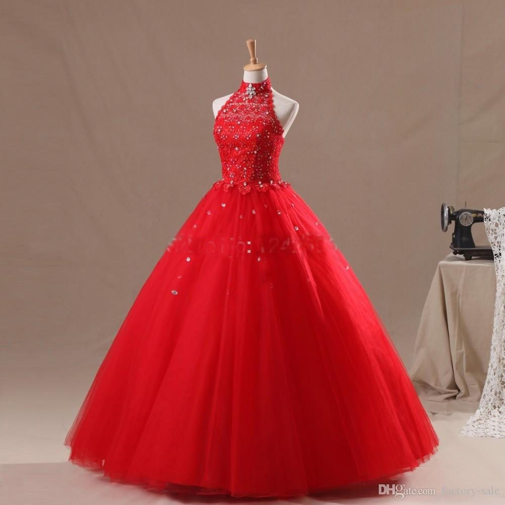 Awesome formal red tulle halter party evening gowns quinceanera