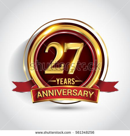 27th Golden Anniversary Logo Twenty Seven Years Birthday Celebration With Ring And Red Ribbon Isolated On Whit Golden Anniversary Anniversary Logo Anniversary