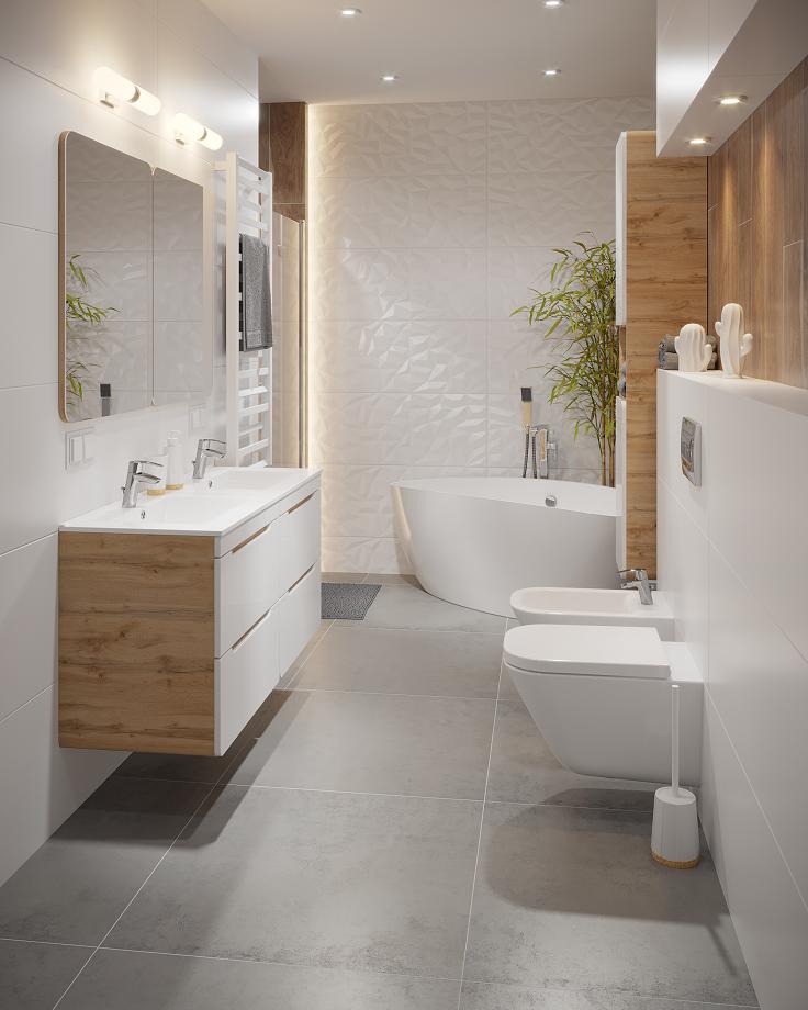Biala Lazienka Z Drewnianymi Elementami Bathroom Remodel Master Bathrooms Remodel Remodel