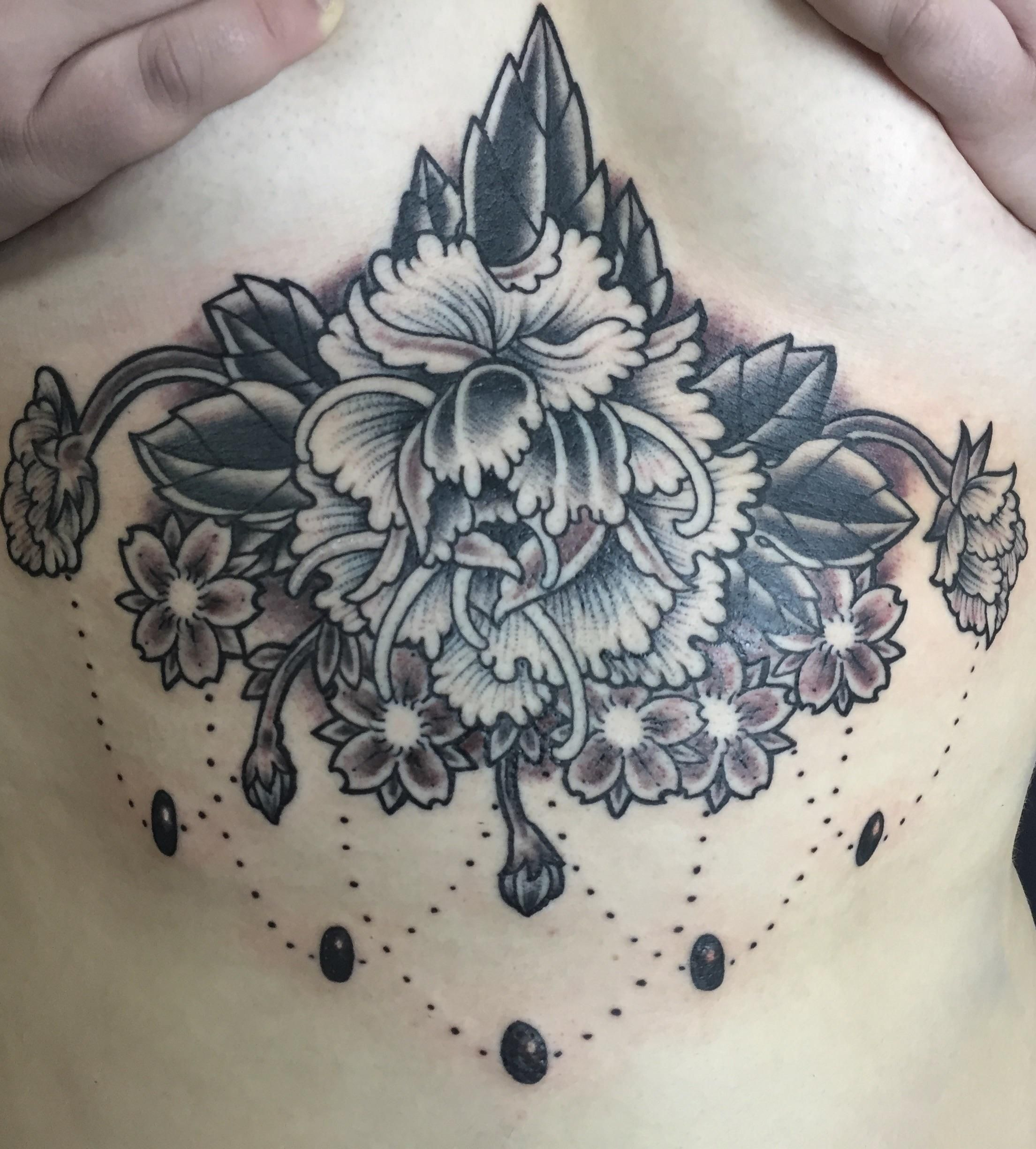 Fresh peony underboob tattoo done by Micah Harold at RedHanded ...