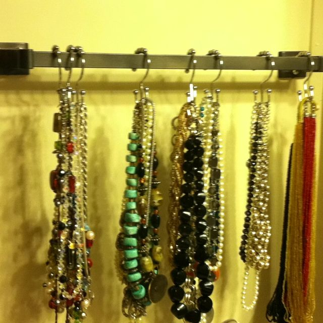 Shower curtain hangers to hang necklaces. Thanks pinterest! Why didn't I think of that!!!