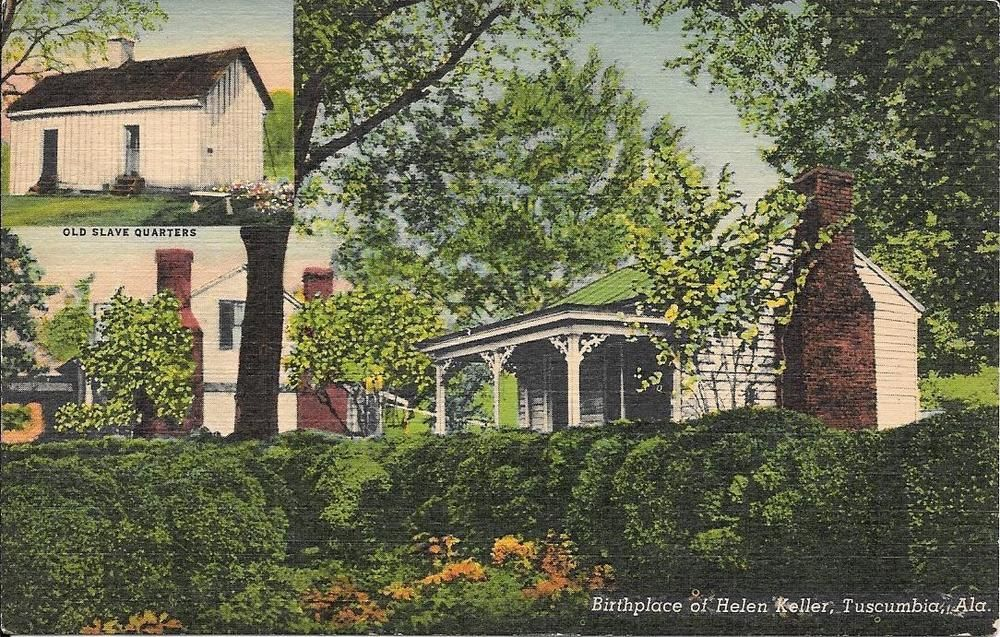 1940s linen postcard birthplace helen keller tuscumbia