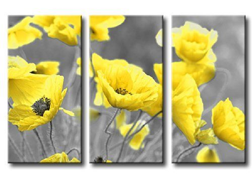 Large Yellow Poppy Flowers Floral Canvas Picture Print 3 Panels