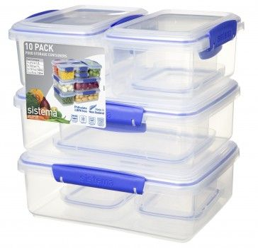 10 Pack Klip It Packs Sistema Plastics Glass Food Storage Containers Food Storage Food Storage Containers