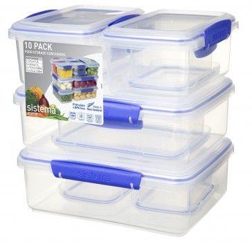 10 Pack Klip It Packs Sistema Plastics Glass Food Storage Containers Food Storage Food Storage Containers