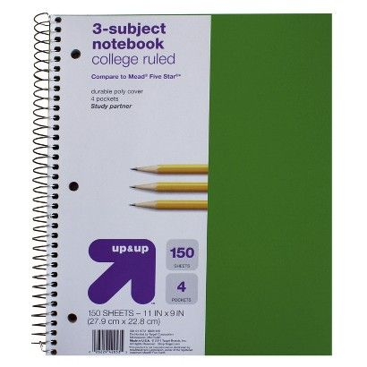 up & up™ 3-Subject College Ruled Notebook, Black - 120