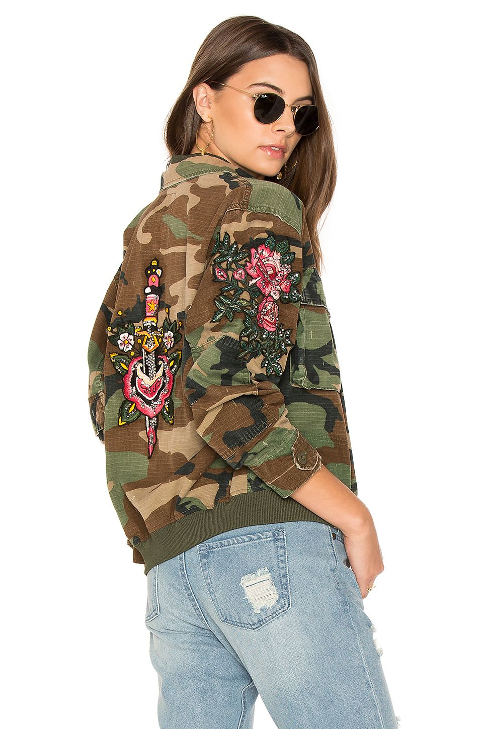 AS65 Embroidered Bomber in Army REVOLVE Embroidered