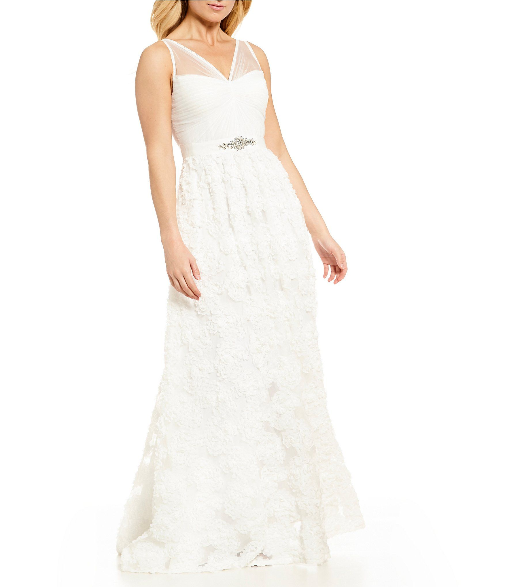 Adrianna Papell Tulle Rosette Gown Dillards Womens Wedding Dresses Macys Wedding Dresses Tulle Wedding Dress