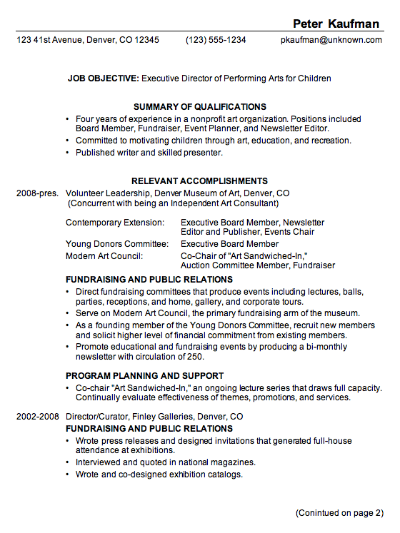 11 great sample combination resume