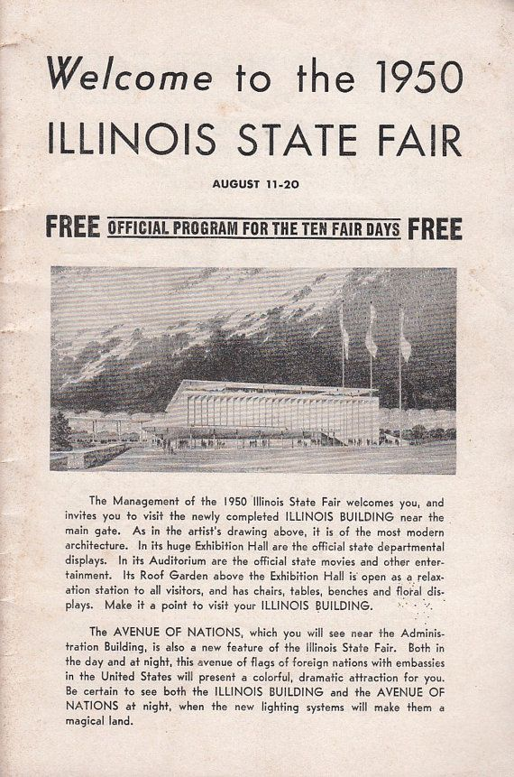 1950 Official Program For The Illinois State Fair At Springfield