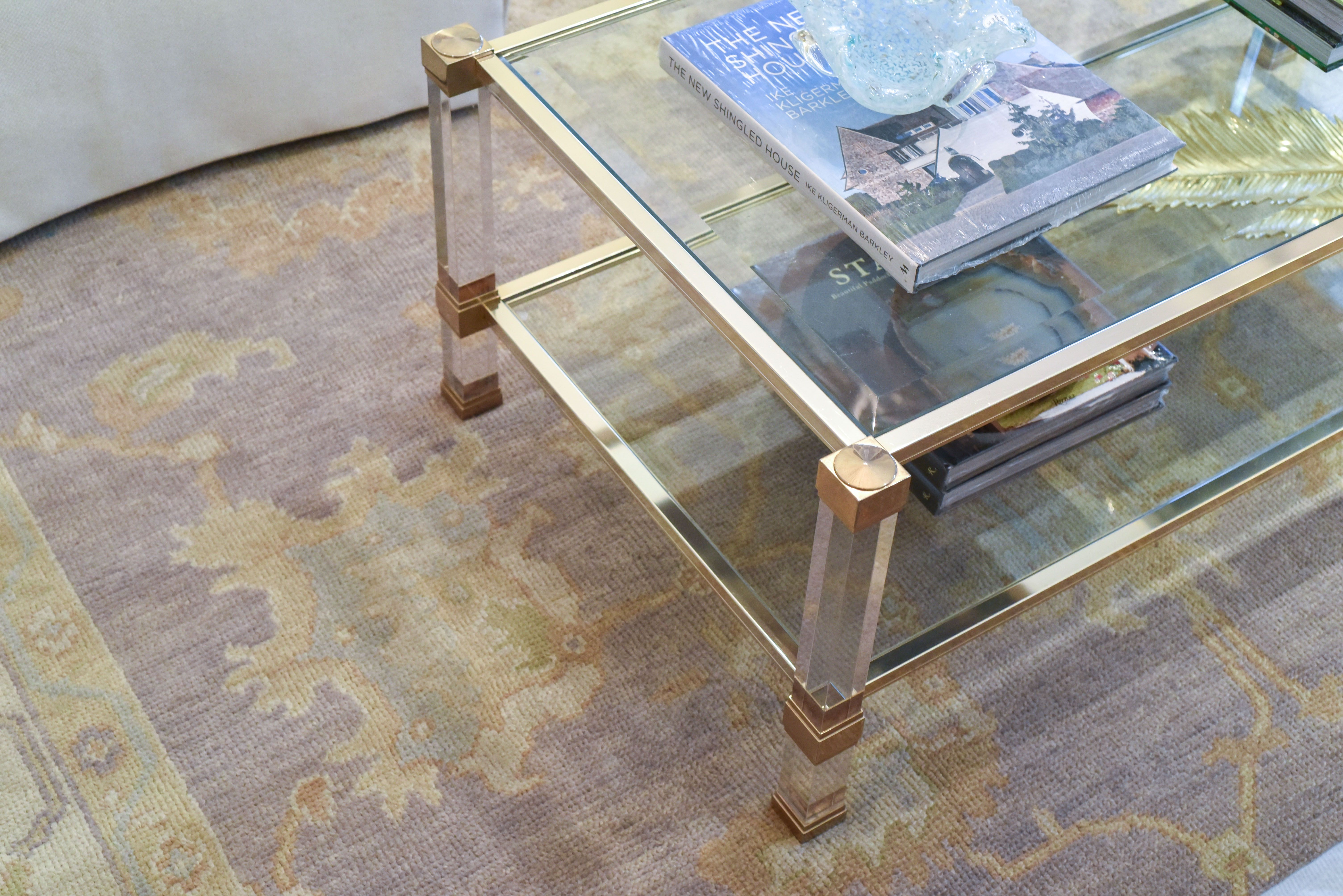 Antique Brass And Glass Coffee Table - Lavender Rug -