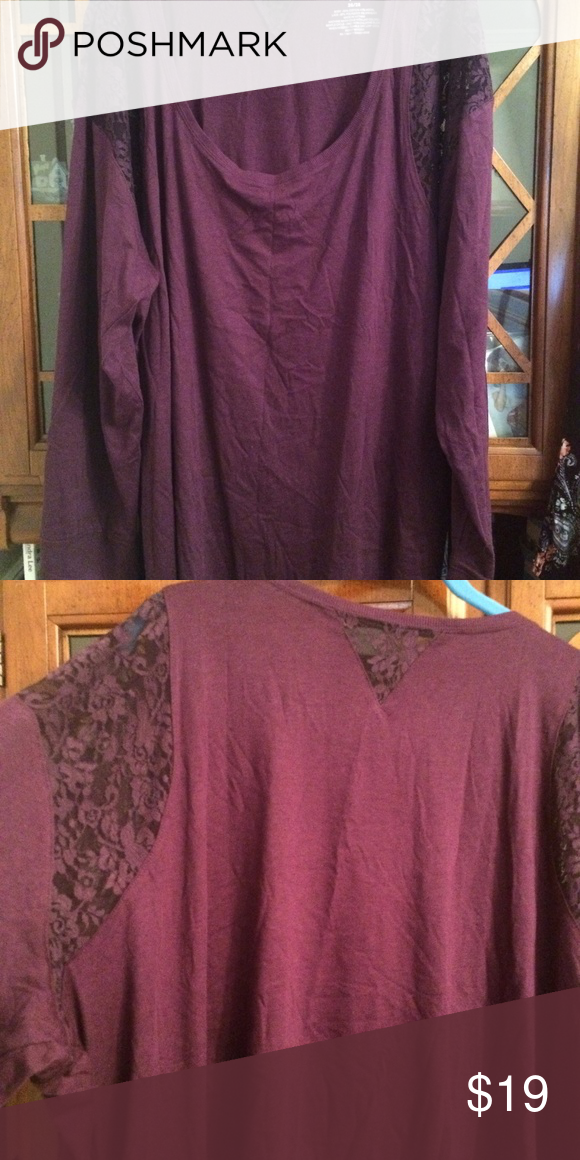 7075499a0f3 Long Sleeved T Shirts · CACIQUE LANE BRYANT TOP 26 28 3X 4X NWT PRETTY  PURPLE TOP WITH LACE ON