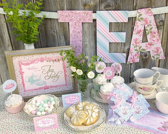 Tea Party Printable Set: Baby Shower, Bridal Shower, or Birthday on Etsy, $15.99