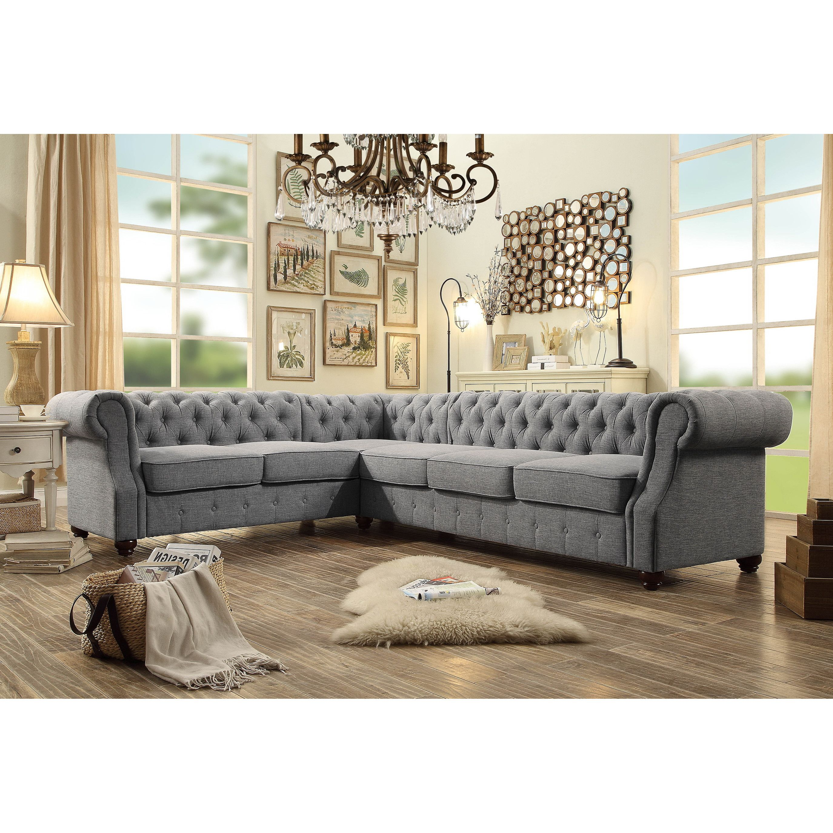 Mulhouse Furniture Olivia Sectional Sectional Sofa Living Room Designs Tufted Sectional Sofa