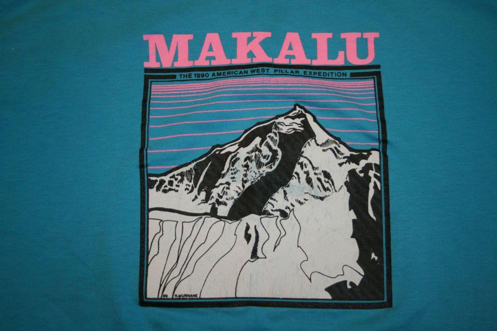 Vintage Makalu 1990 American West Pillar Expedition T-Shirt Men's L 1989 Murnane #Hanes #GraphicTee